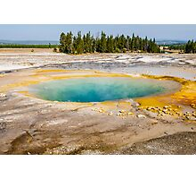 Warm pool hot spring turquoise water Yellowstone park landscape - L'Occhio del Profondo Photographic Print
