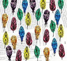 Colorful Feather withText Background by missmann