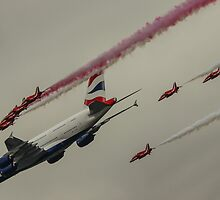Red Arrows and British Airways A380 by Chris Mobbs
