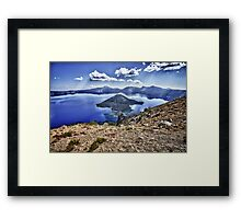 Mountain landscape Crater Lake HDR photography - Isole nel Cielo Framed Print
