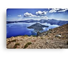 Mountain landscape Crater Lake HDR photography - Isole nel Cielo Canvas Print