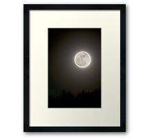 Full moon in the night sky with silhouette of trees night photography fine art color wall art - Guarda che Luna... Framed Print