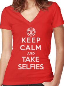 Keep Calm and Take Selfies - Spiderman Women's Fitted V-Neck T-Shirt