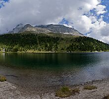 Lake and mountains in the Alps alpine lake naturalistic panorama landscape color photography wall art - Gioiello fra i monti by visionitaliane