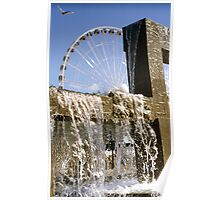 Seattle waterfront color slide film photography - fountain and ferris wheel - Rare North West Poster