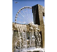 Seattle waterfront color slide film photography - fountain and ferris wheel - Rare North West Photographic Print