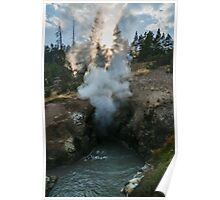 Landscape hot spring warm pool steam and water at sunset naturalistic wall art from Yellowstone park - La tana del Drago Poster