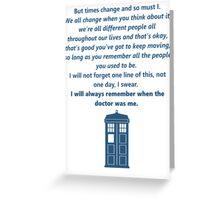 The 11th Doctor's Final Speech Greeting Card