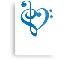 Treble-Bass Heart BLUE Metal Print
