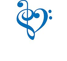 Treble-Bass Heart BLUE Photographic Print