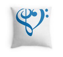 Treble-Bass Heart BLUE Throw Pillow