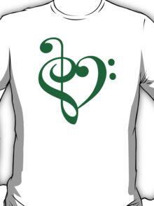 Treble-Bass Heart GREEN T-Shirt