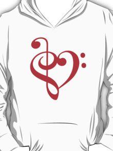 Treble-Bass Heart RED T-Shirt