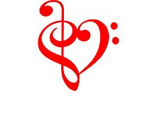 Treble-Bass Heart RED Photographic Print