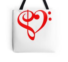 Treble-Bass Heart RED Tote Bag