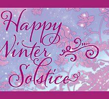 Happy Winter Solstice - Swirly Font, Magenta & Snow by Lynne Goodman