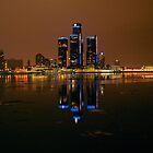 Detroit - Night And The City Skyline II by Barry W  King
