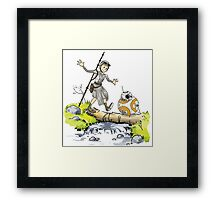 Star Wars The Force Awakens / Calvin and Hobbes- BB-8 and Rey Framed Print