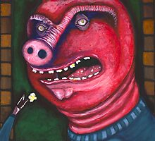 Pig Eating Popcorn by EchoNittolitto