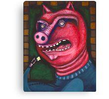 Pig Eating Popcorn Canvas Print