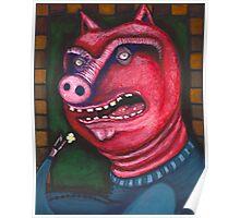 Pig Eating Popcorn Poster