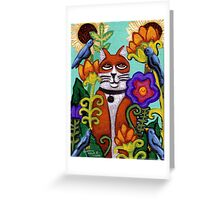 Cat and Four Birds Greeting Card