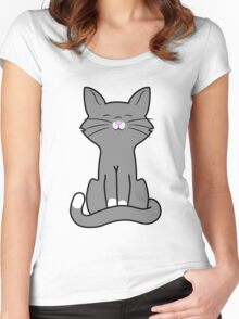 Sitting Gray Cat Women's Fitted Scoop T-Shirt