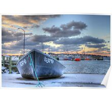 Black Skiff at the Lobster Rock Wharf Poster