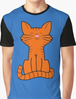 Sitting Orange Cat with Tiger Stripes Graphic T-Shirt