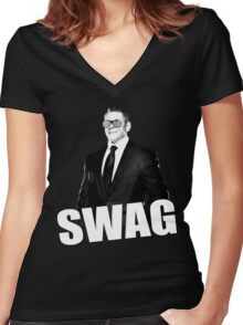 Vince McMahon SWAG Women's Fitted V-Neck T-Shirt