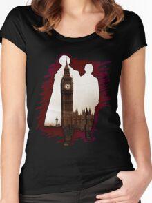 Sherlock Holmes Sillhoute Women's Fitted Scoop T-Shirt