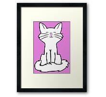 Sitting White Cat Framed Print