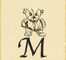 Teddy Bear Vintage Initial M by yendesigns