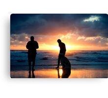 Family Reunion - sunset Baylys Beach, NZ Canvas Print