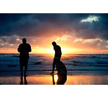 Family Reunion - sunset Baylys Beach, NZ Photographic Print