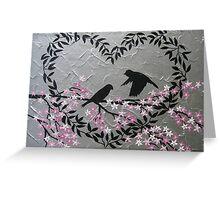 Romantic birds with sakura and heart blossom Greeting Card