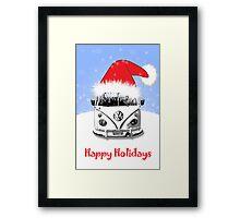 VW Camper Happy Holidays Blue Framed Print