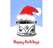 VW Camper Happy Holidays Blue Photographic Print