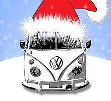 VW Camper Merry Christmas Blue by splashgti