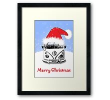 VW Camper Merry Christmas Blue Framed Print