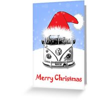 VW Camper Merry Christmas Blue Greeting Card
