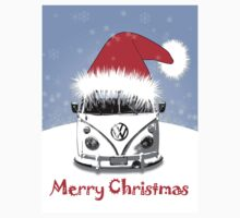 VW Camper Merry Christmas Blue One Piece - Long Sleeve