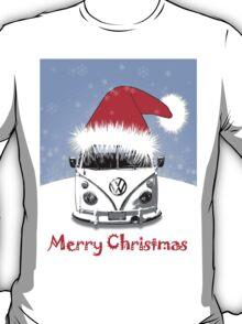 VW Camper Merry Christmas Blue T-Shirt