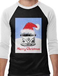 VW Camper Merry Christmas Blue Men's Baseball ¾ T-Shirt