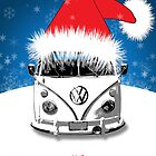 VW Camper Merry Christmas Card by splashgti