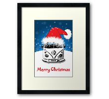 VW Camper Merry Christmas Card Framed Print