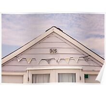 Beach hut in cream with bunting Poster