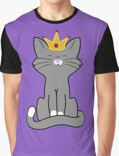 Gray Cat Princess with Gold Crown Graphic T-Shirt