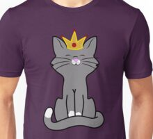 Gray Cat Princess with Gold Crown Unisex T-Shirt