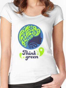 Think Green, Ecology Concept icon, woman half face silhouette Women's Fitted Scoop T-Shirt